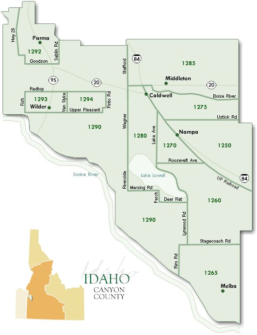 Idaho Map By County.Canyon County Mls Area Map