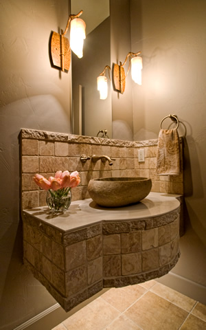 Powder Bath in Custom Home by BrunoBuilt
