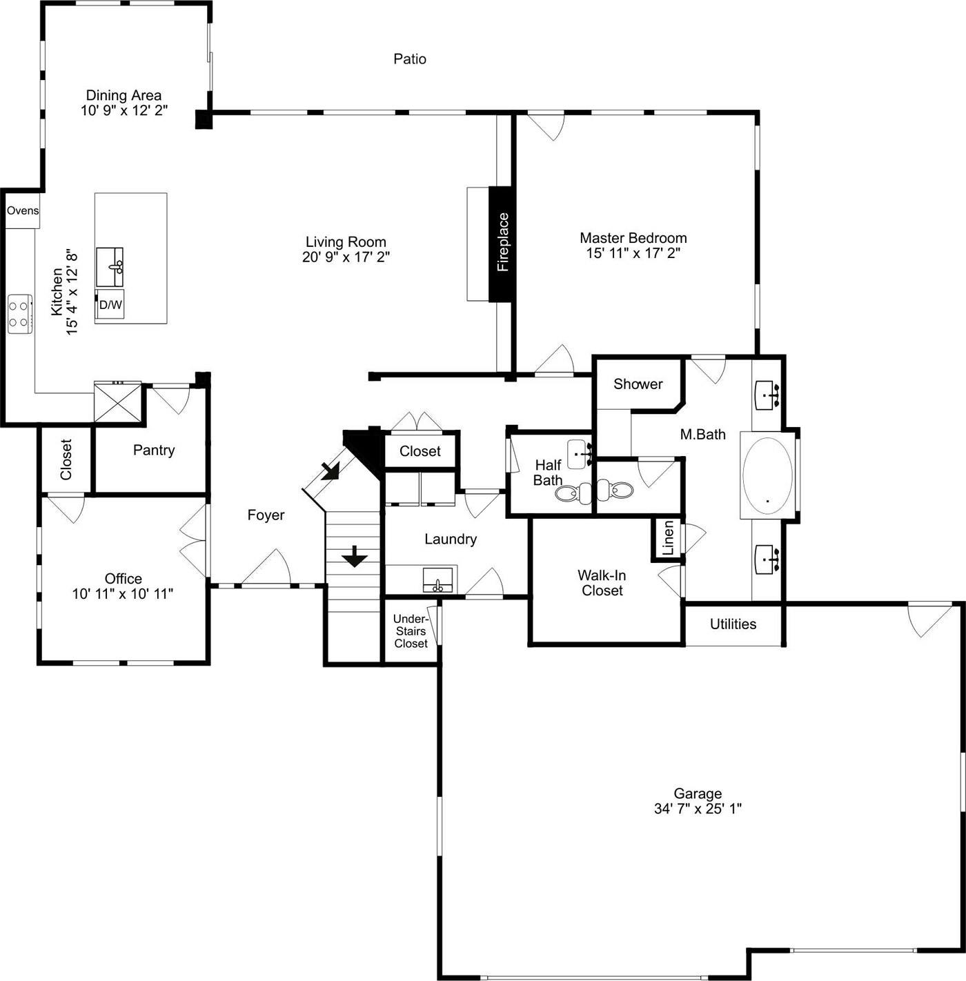 main Level Floor Floorplan Custom Home in Eagle ID