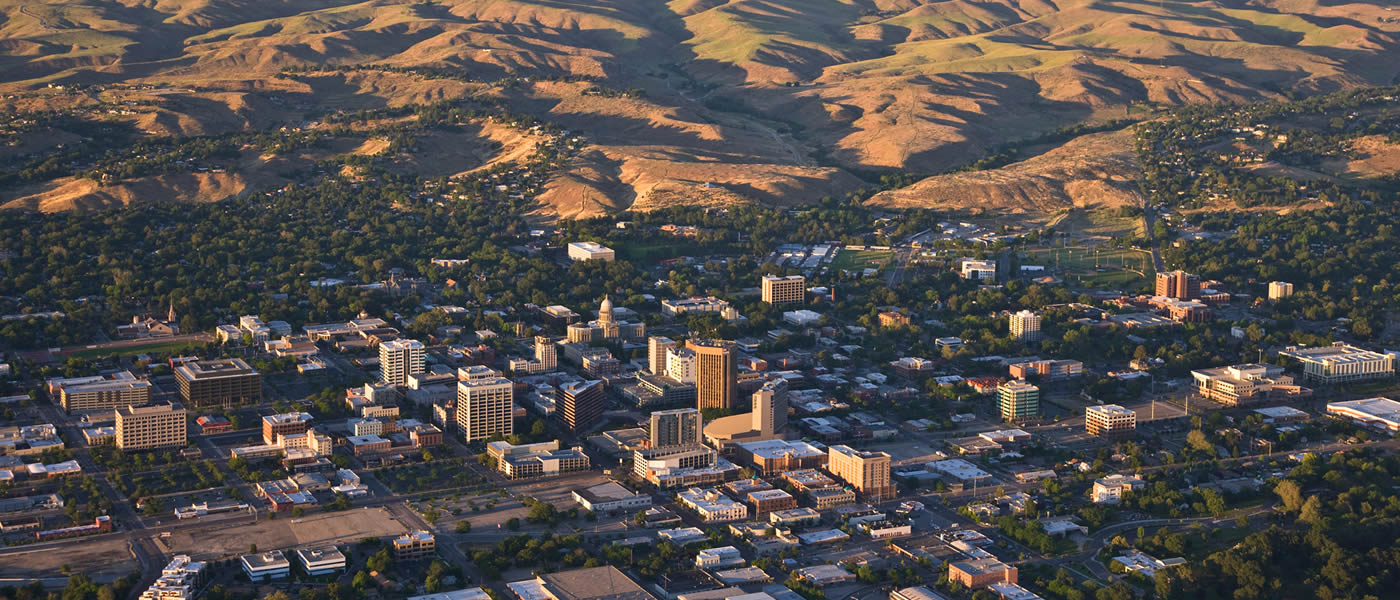 aerial picture of downtown Boise Idaho and the Boise foothills. Picture by Build Idaho