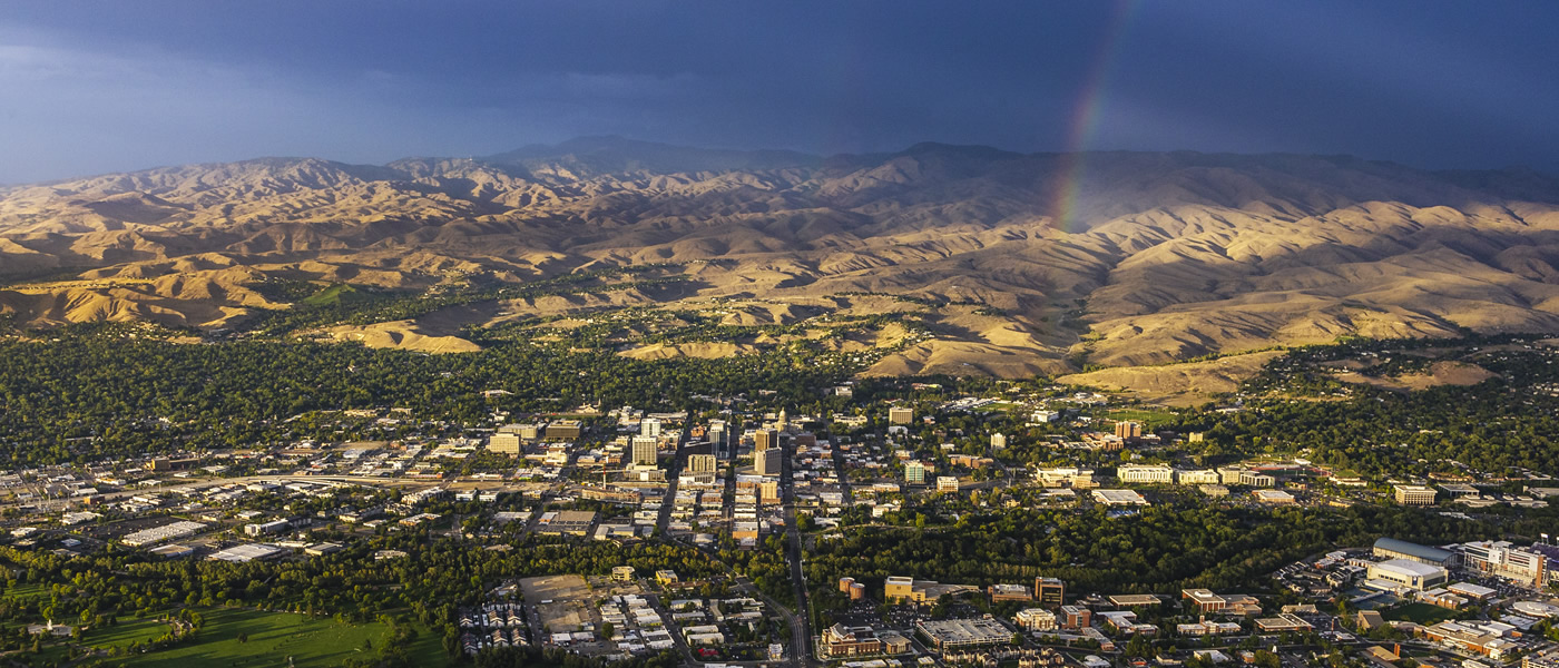 aerial picture of downtown Boise Idaho and the Boise foothills