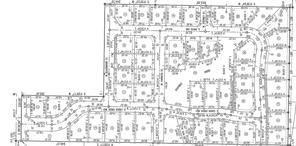 Caden Creek Subdivision of Boise Idaho, Plat Map