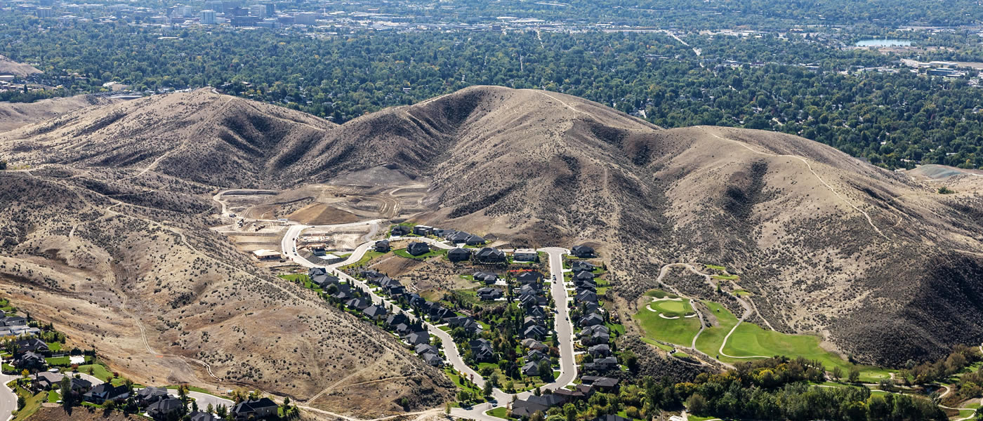 Aerial view of the Eyrie Canyon subdivisino in the Boise foothills north of Boise Idaho