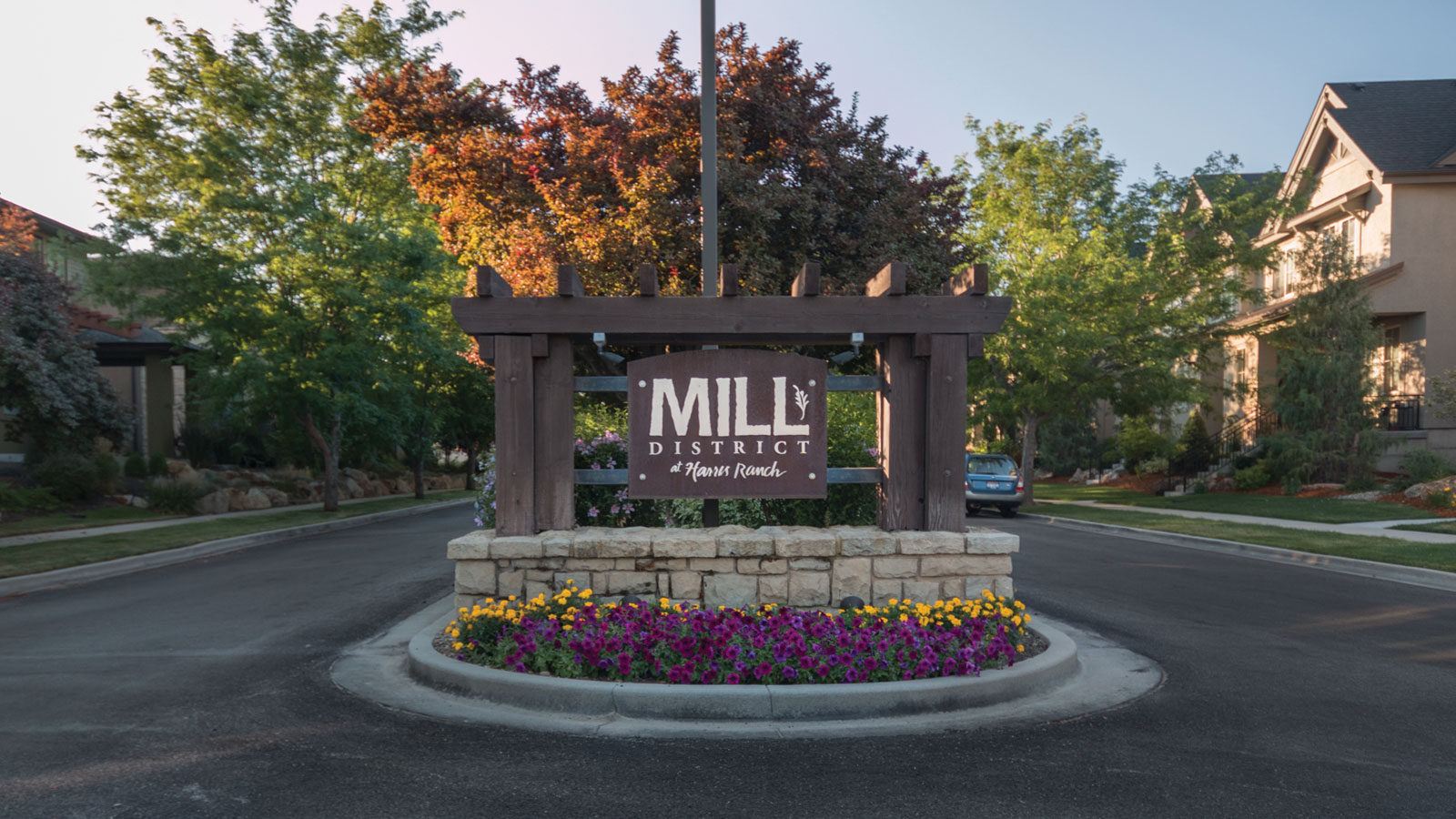 Mill District at Harris Ranch subdivisino in Northeast  Boise Idaho entrance