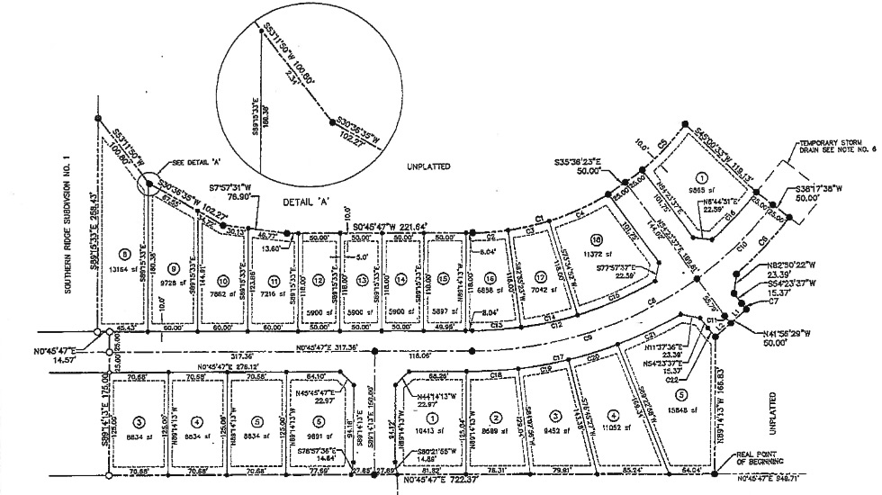 Southern Risdge Subdivision Plat Map