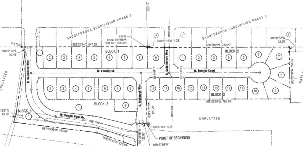 Endsley Court Subdivision Plat Map